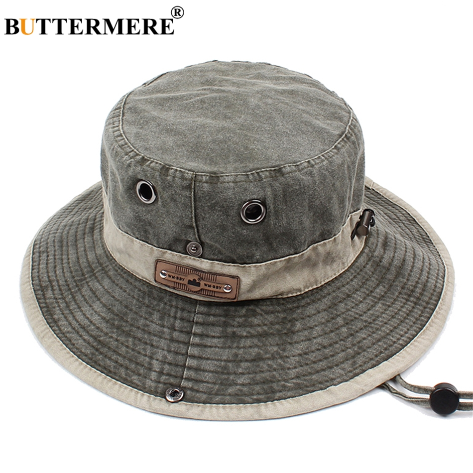 BUTTERMERE Men Bucket Hats Denim Casual Classic Vintage Fishing Hat 2019  Summer Spring Outdoor Foldable Beach Sun Caps Male 07e78f4fac7