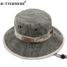 BUTTERMERE Men Bucket Hats Denim Casual Classic Vintage Fishing Hat 2019 Summer Spring Outdoor Foldable Beach Sun Caps Male