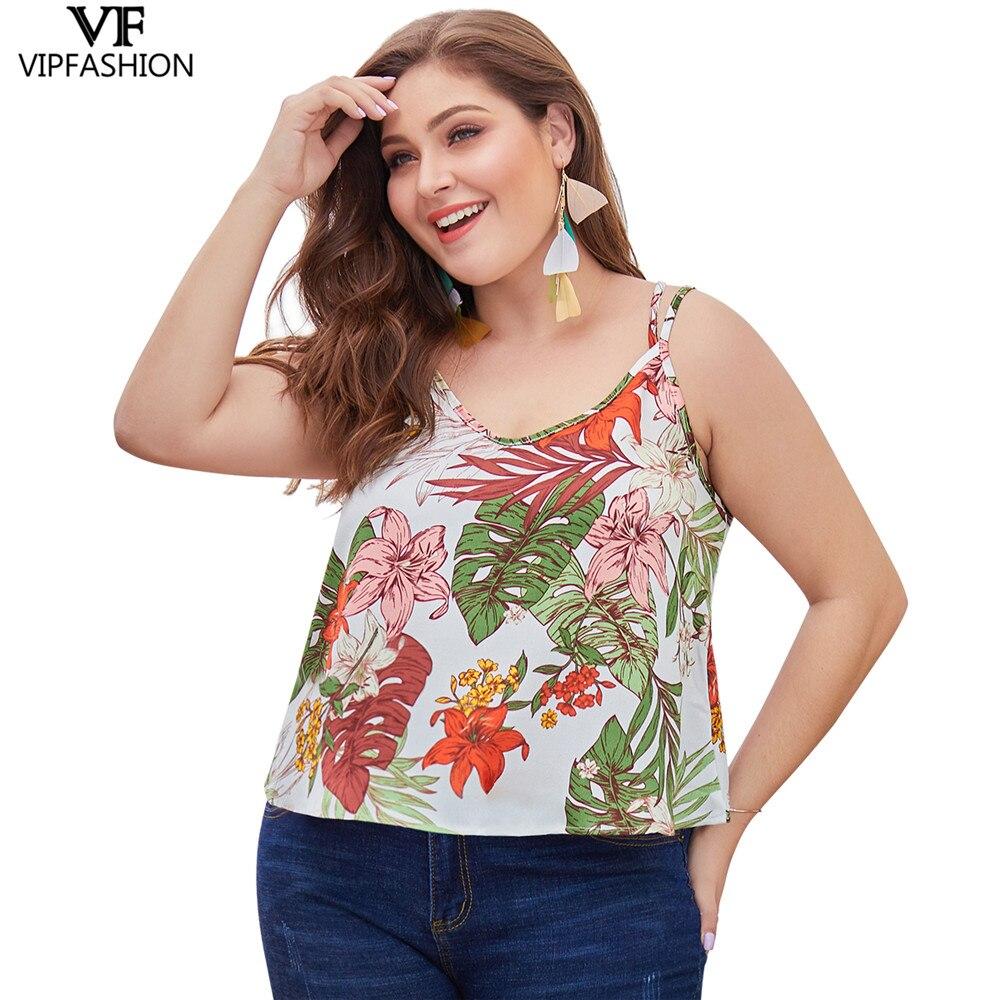 VIP FASHION 2019 offre spéciale de haute qualité grande taille Sexy femmes imprimé gilet décontracté dames en mousseline de soie Camis réservoir hauts