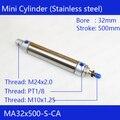 MA32X500-S-CA Бесплатная доставка Пневматический воздушный цилиндр из нержавеющей стали 32 мм диаметр 500 мм ход MA32 * 500 двойного действия мини кругл...