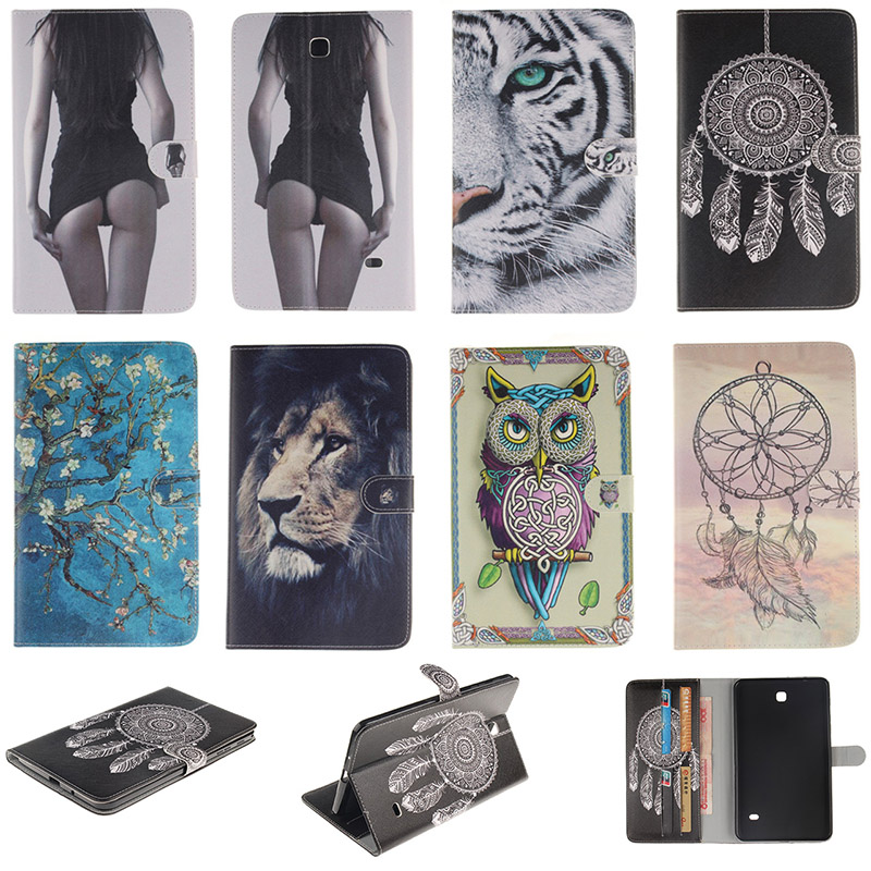 DEEVOLPO Cartoon Tiger Lion Pattern PU Leather Flip Case For Samsung Galaxy Tab 4 8.0 SM-T330 T331 Back Cover Card Holder DP00E