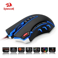 Redragon USB Gaming Mouse 24000 DPI 10 Buttons Ergonomic Design For Desktop Computer Accessories Programmable Mouse