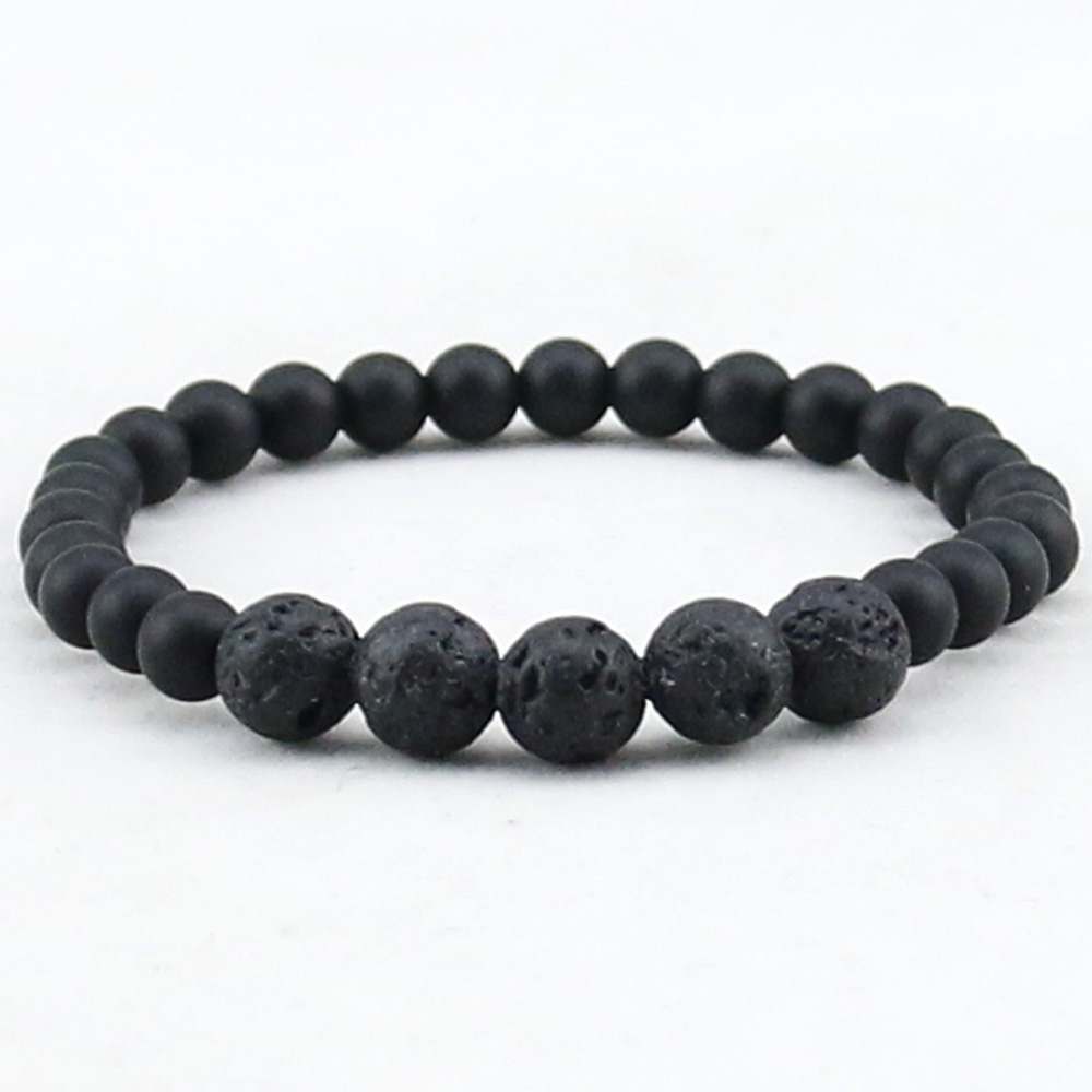Lava/White Howlite Stone Beads Natural Stone Bracelet, Men Jewelry, Stretch Yoga Bracelet,Matte Onyx Women Bracelet