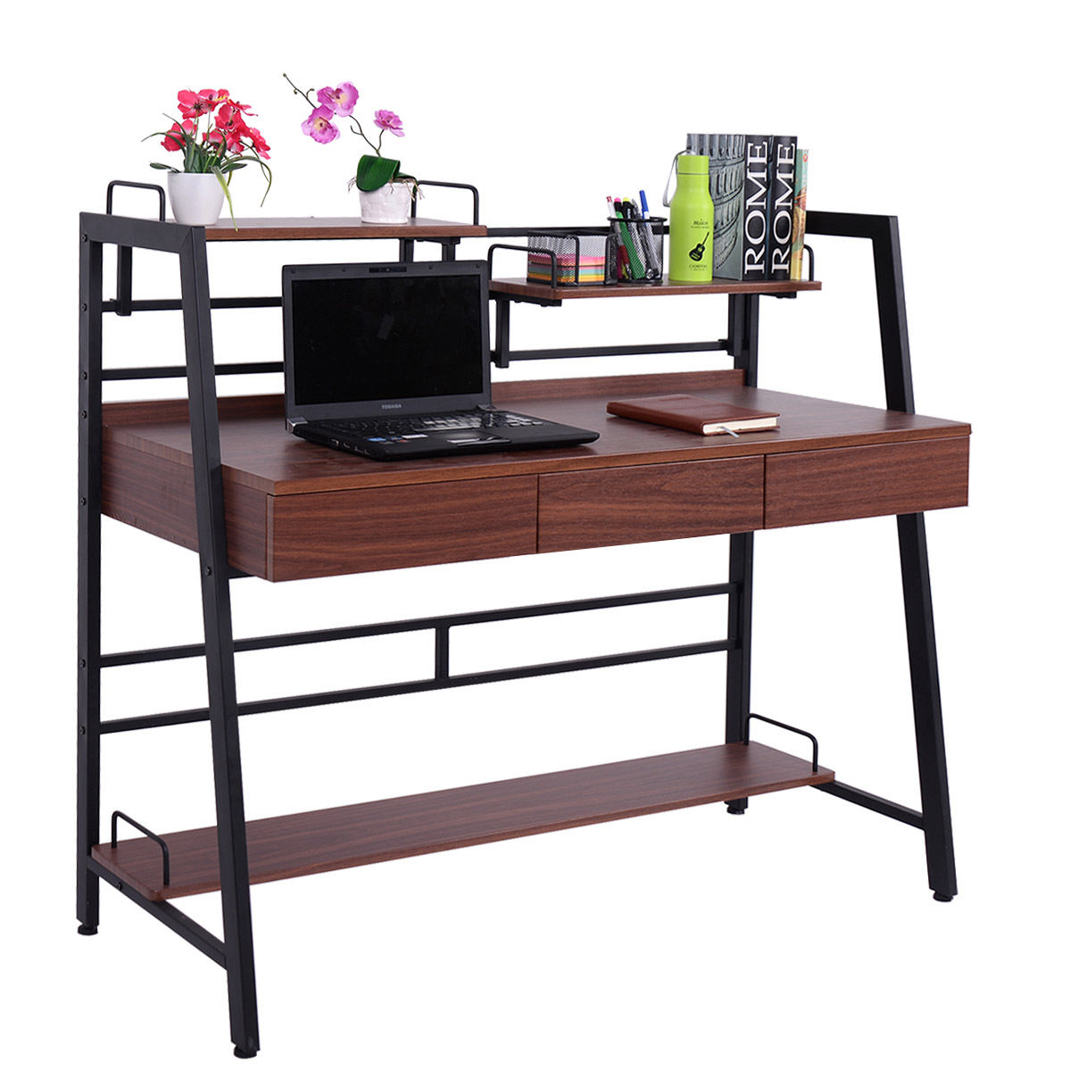 Giantex Computer Desk PC Laptop Table with Drawer Shelf Workstation Modern Wood Home Office Furniture HW54019 giantex height adjustable standing desk converter sit stand computer laptop workstation modern wood furniture hw57064