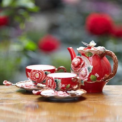 Peony wedding tea set butterfly teapot Cup Saucer Set ceramic cup combination kettle teacup set coffee