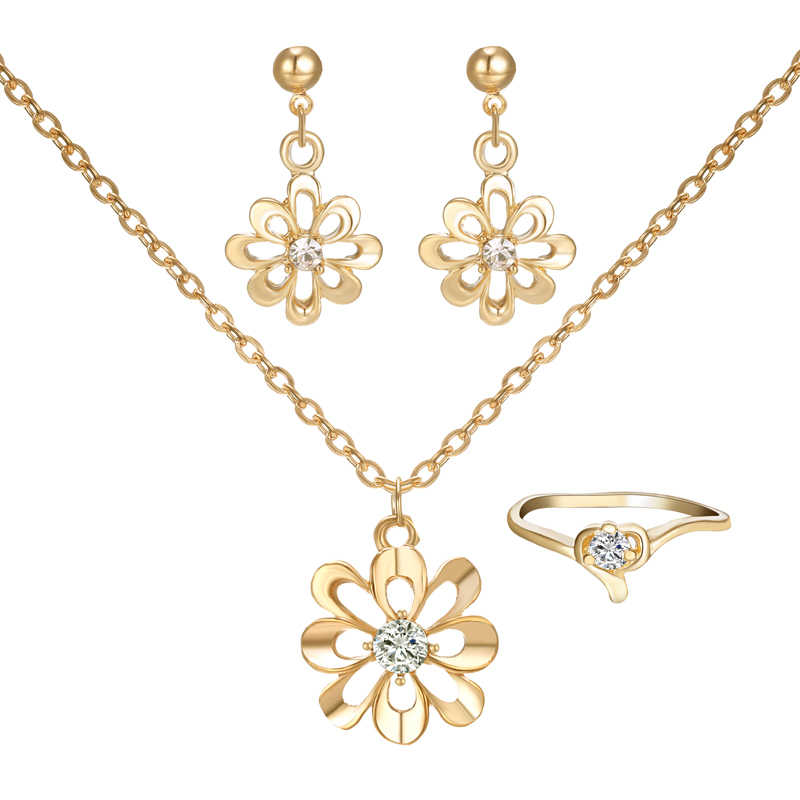 Elegant Women Jewelry Set gold Flower Pendant Necklaces Earring Rings Set Pretty Bride wedding Accessories
