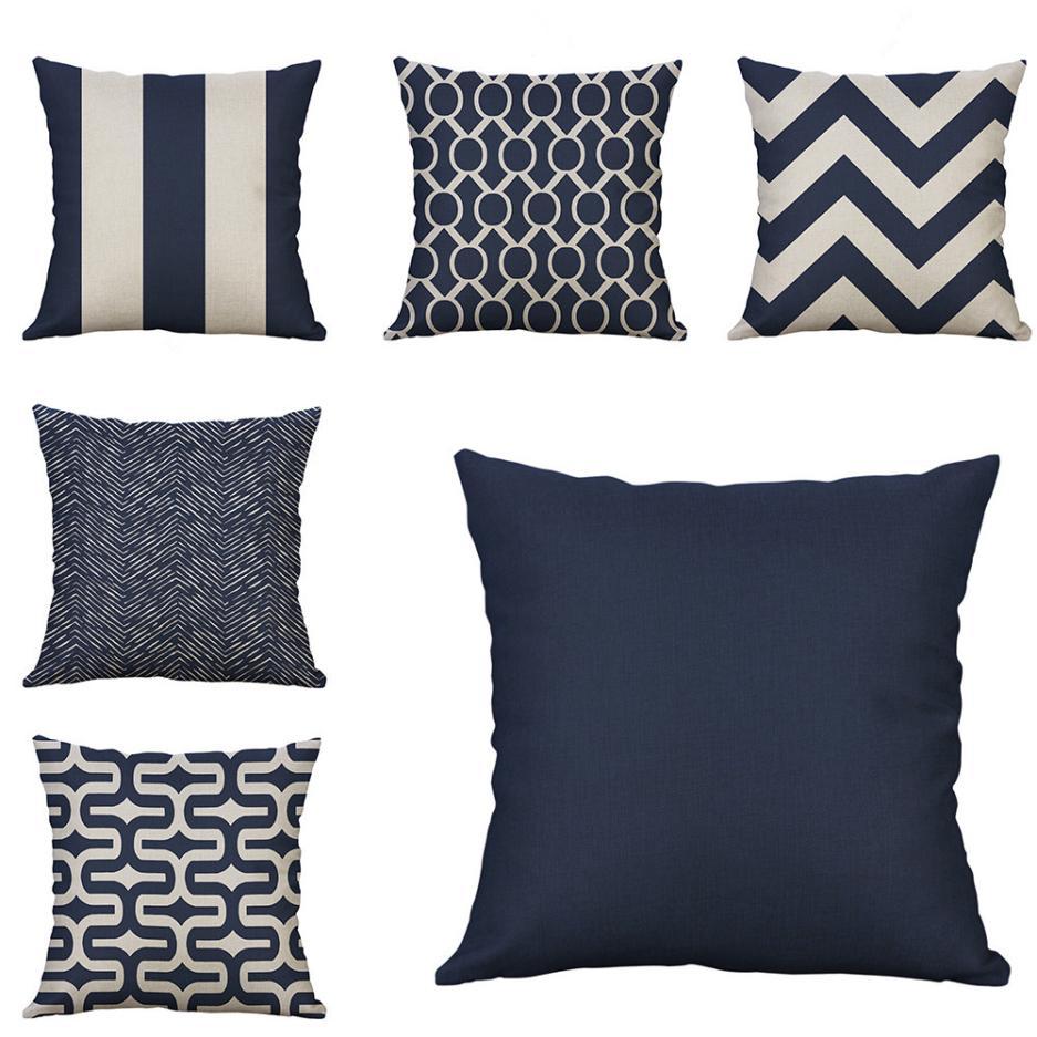 ISHOWTIENDA Mustard Pillow Case Geometric Fall Autumn Cushion Cover Decorative For Sofa Reversible Pillowcase