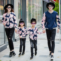 2015 New Family Matching Outfits Spring Autumn Printing Jackets Matching Mother And Daughter Clothes Father And