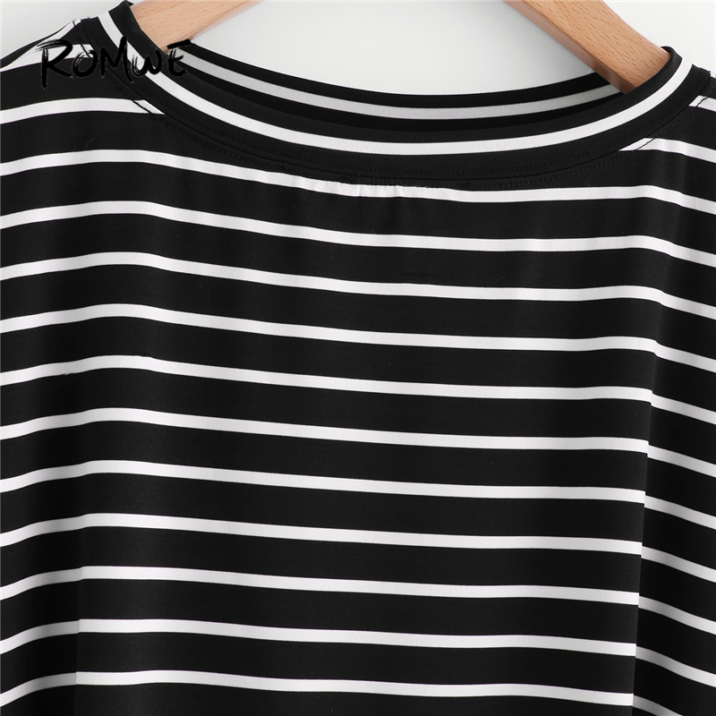 1d33d30c623bb ROMWE Oversized Tops Women Long Sleeve Shirt Autumn Womens Tee Shirt Femme  Drop Shoulder Black and White Striped Casual T shirts-in T-Shirts from  Women s ...