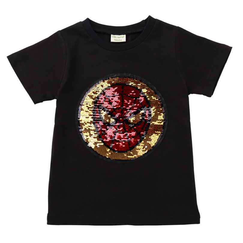 New Cotton Change Face Color Magic Discoloration Sprideman Boy T shirts Sequin Paillettes T Shirt Boys Tee for Birthday Gift in T Shirts from Mother Kids