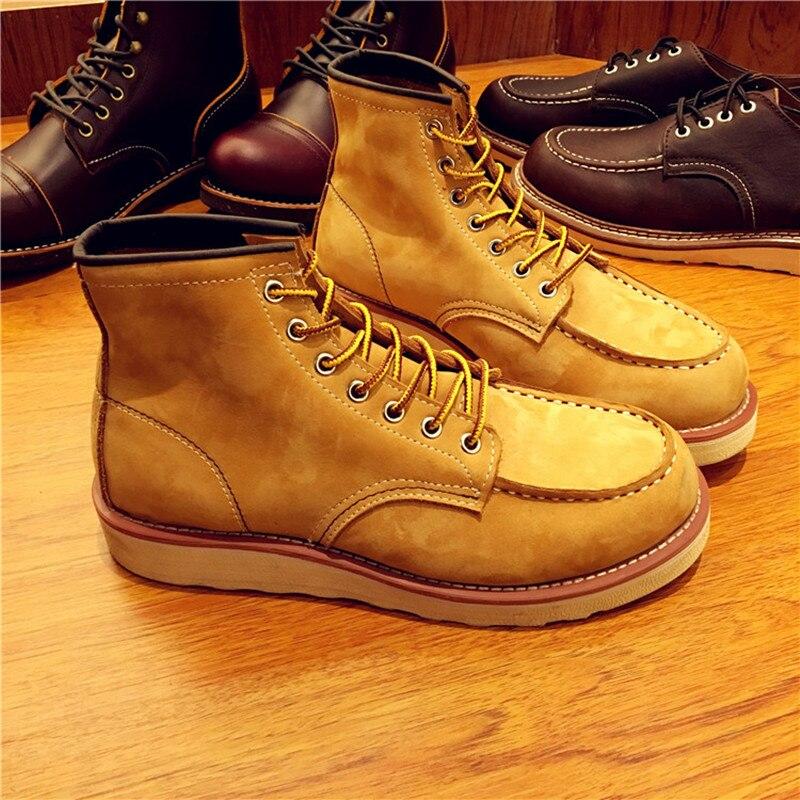 Винтажные мужские ботинки из натуральной кожи на шнуровке мужские рабочие свадебные ботильоны ручной работы повседневные модные красные б... - 3
