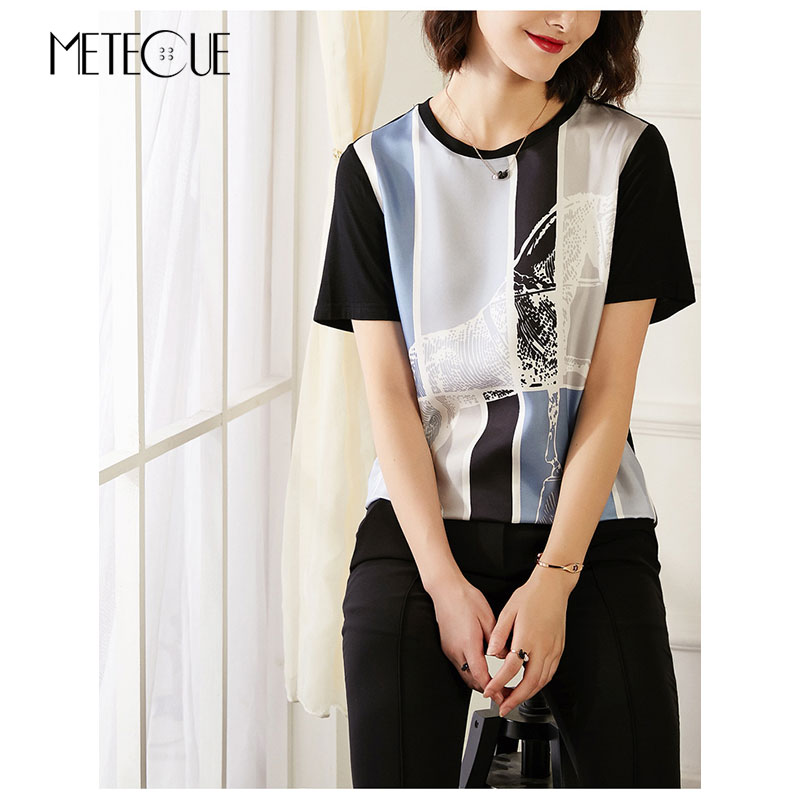 Silk Modal Patchwork Tee Shirt Women 2018 Pre Fall Fashion Horse Printed Short Sleeve Women Tshirt 2018 Summer