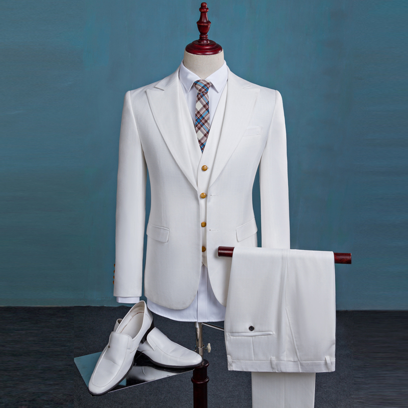 3piece Jacket Vest Pant Men Suit Korean Slim Fit White Blazer Set Fashion Wedding Dress