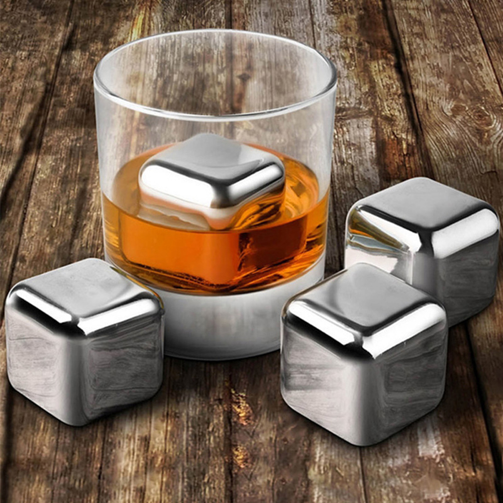 Magic Stainless steel whisky ice cubes/bar, KTV supplies wiskey/wine/beer cooler 4pcs 6pcs with Plastic Storage Case 2017 NEW