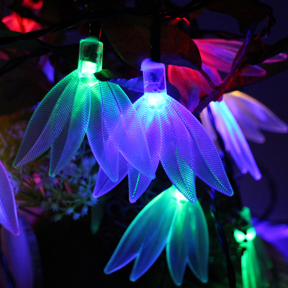 6m 30leds Battery Operated Feather Modelling LED String Lights Waterproof Christmas Fairy Lights Party Garden Holiday Decoration