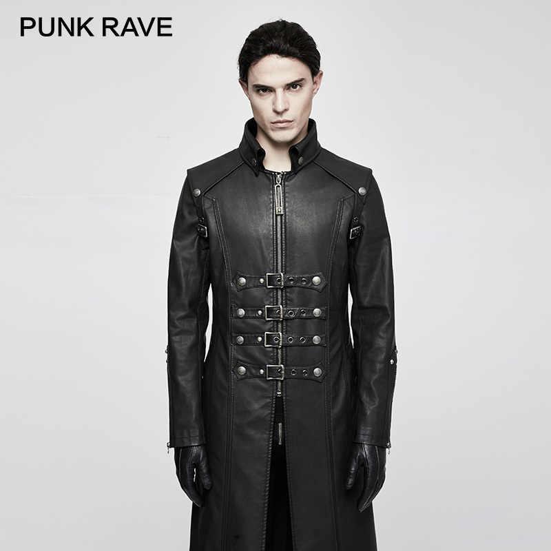 Punk Kafatası Dekorasyon Kış Çapraz Siper Gotik Kaya Benzersiz Moda Ağır PU Deri Parka Mont ceket PUNK RAVE Y-809