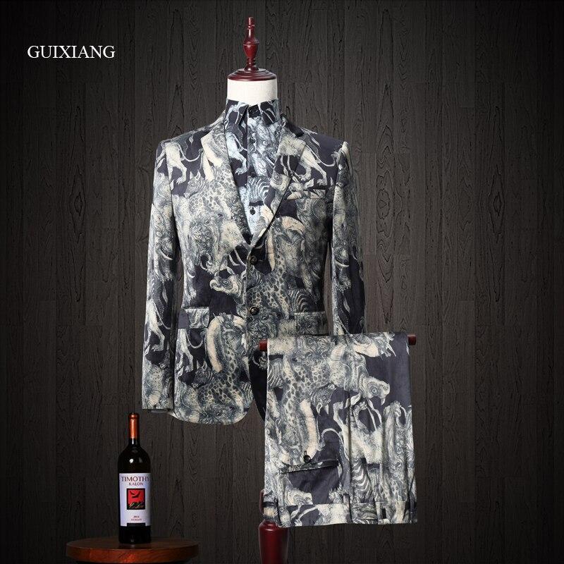 Мужской деловой костюм из двух предметов (пиджак и брюки), стильный повседневный костюм с животным принтом, M 3XL, 2019