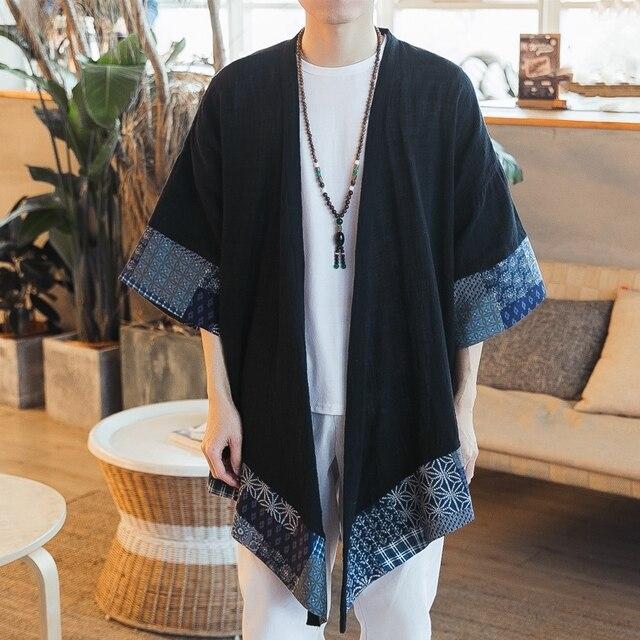 Japońskie kimono cardigan mężczyźni haori yukata mężczyzna samuraj kostium odzież kimono kurtka mężczyzna kimono koszula yukata haori KZ2002
