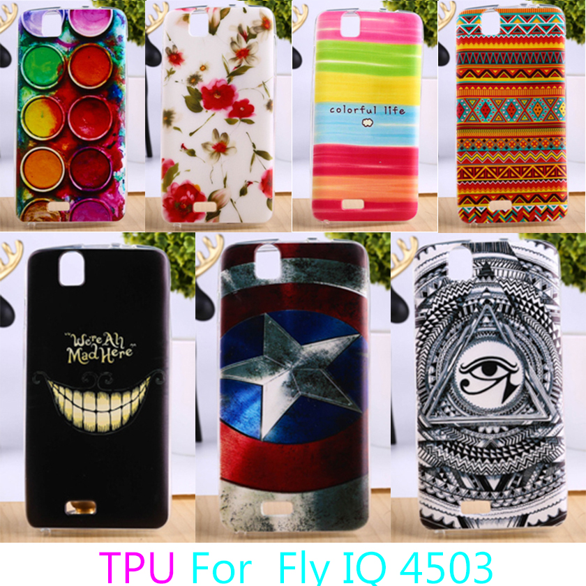AKABEILA Soft TPU Phone Cases For fly iq4503 iq 4503 quad era life 6 life6 Colorful Back Cover Cases Durable Shell Protectors