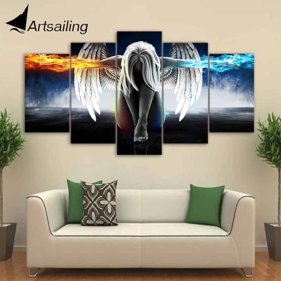 Artsailing 5 stuk canvas art anime Angel Girl Vleugels Fire en Ice schilderen interieur Modula Schilderen Modula's up-874