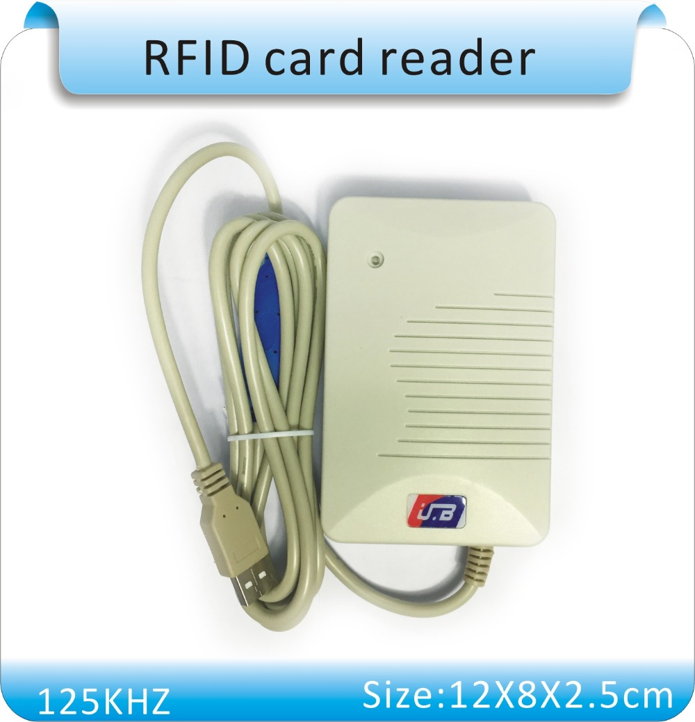 цены  Free shipping 10 digits HEX output TXT/EXECL RFID 125KHZ ID card reader , USB port +10 pcs cards