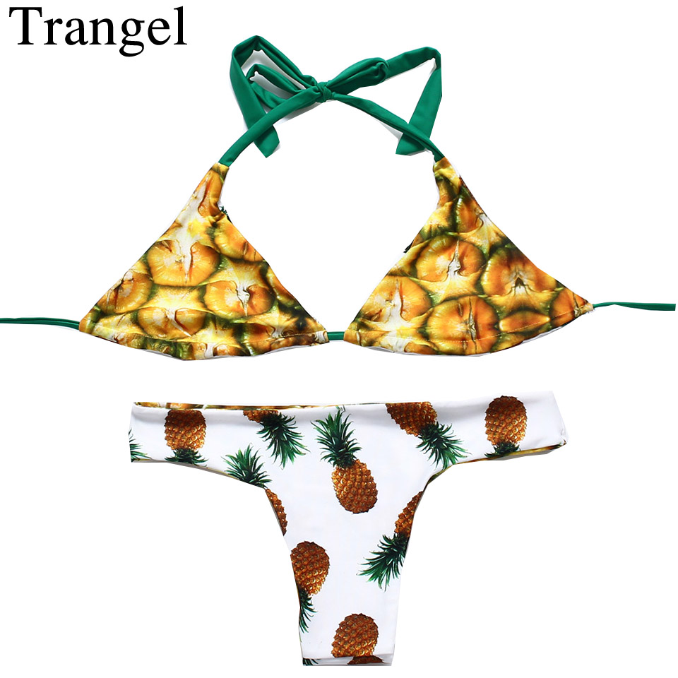 Trangel new <font><b>Brazilian</b></font> Swimwear Reversible <font><b>Bikinis</b></font> <font><b>Sexy</b></font> Women Swimsuit Pineapple Series Print Biquinis Halter Bathing Suits image