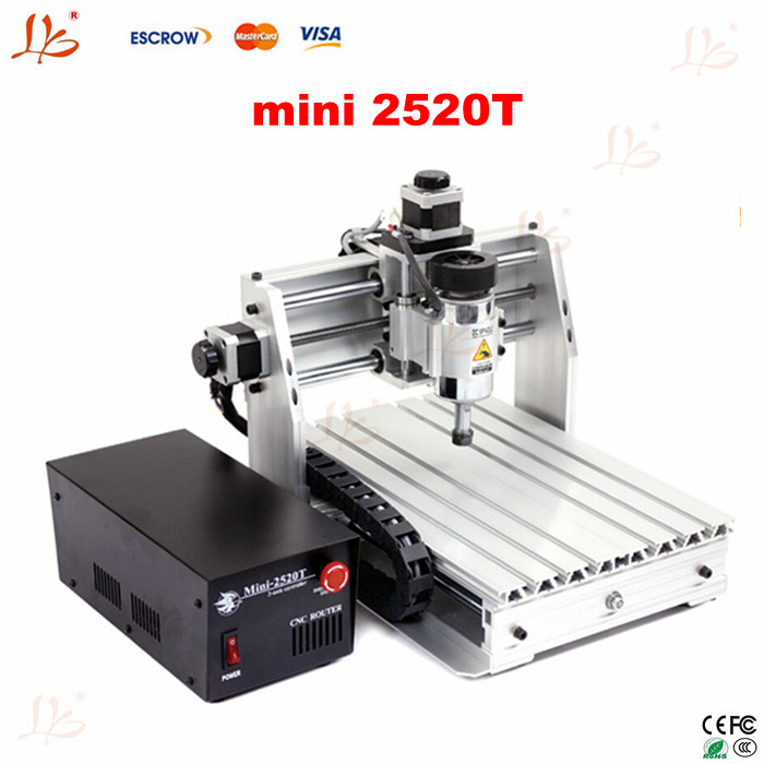 Mini 2520T 3 axis CNC router for personal hobby to Russia free tax cheap price mini cnc router 2520t 3 axis 200w spindle for new user or school tranining