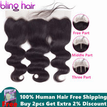 Bling Hair Body Wave Lace Frontal Human Hair Closure with Baby Hair 13*4 Middle/Free/Three Part Brazilian Remy Hair Nature Color(China)