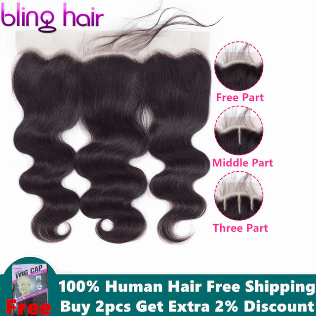 Bling Hair Body Wave Lace Frontal Human Hair Closure with Baby Hair 13*4 Middle/Free/Three Part Brazilian Remy Hair Nature Color