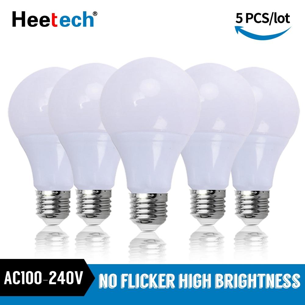 Светодиодная лампа E27 5 шт./лот, светодиодная лампа 3 Вт, 5 Вт, 7 Вт, 9 Вт, 12 Вт, 15 Вт, 18 Вт, лампа точечного светильника, настольная лампа AC 110 В, 220 В, ...