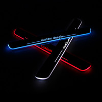 Newest 4pcs Car Style Led Moving Door Scuff Pedal Door Sill Plate Steps Light Welcome Pedal