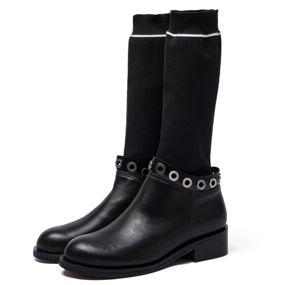 Womens Stretch Boots Ladies Mid Calf Leather Pull on Winter Riding Chelsea High Boots Chunky Block Low Heel Casual Round Toe pull riding pirateship hxg 414