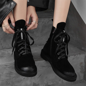 Image 4 - FEDONAS marka kadın yarım çizmeler sonbahar kış inek süet kısa bayan ayakkabıları kadın kalın topuklu Punk parti kulübü ayakkabı temel botları