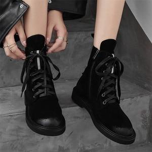 Image 4 - FEDONAS ماركة النساء حذاء من الجلد الخريف الشتاء البقر المدبوغ قصيرة السيدات أحذية امرأة كعب سميك الشرير أحذية نادي الحفلات الأساسية الأحذية