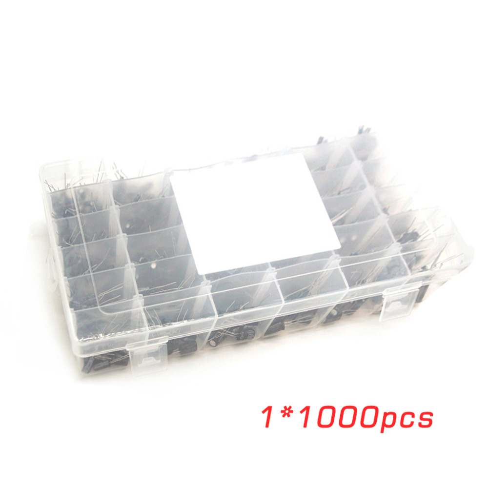 ФОТО 36 Kinds Value 1000 Pcs/Lot Electrolytic Capacitor Component Box Kit For Arduino DIY Assortment 0.1uF To 1000uF