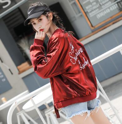 New 2018 fall Winter Vintage embroidery   basic     jacket   Baseball   jackets   Soft Satin long sleeve female bomber   jackets   wx378