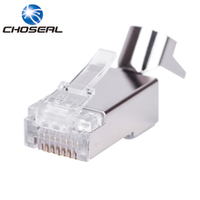 ФОТО choseal qs6017 rj45 connector cat7 10 gigabit ethernet shielded gold-plated copper 8p8c network connectors fixed clip design