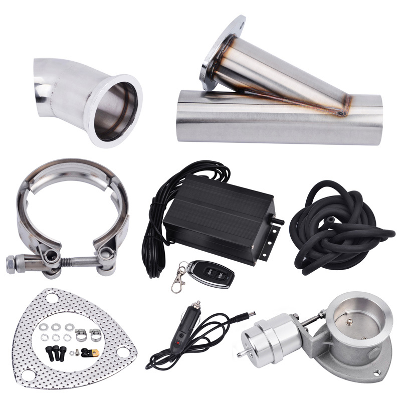 Universal 3.0 Stainless Steel Boost Activated Exhaust Cutout System E Cut Vacuum Pump Valve With Remote Control