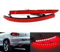 2x Red Lens Rear Bumper Reflector Tail Brake Fog Stop Turning Driving Backup Warning Lights For Volkswagen 5N Tiguan 2007 16