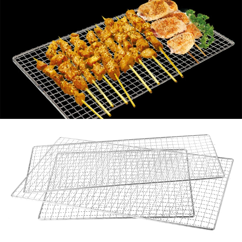 все цены на MEXI 1PC 19x44cm Stainless Steel BBQ Barbecue Grill Grilling Mesh Wire Net Outdoor Kitchen Cooking Rotisserie Parts онлайн