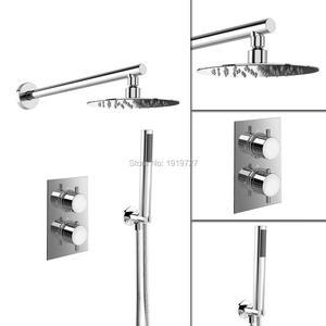 Image 2 - עגול סגנון הסתיר תרמוסטטי מיקסר Valve כף יד אמבטיה מוצר אמבטיה מקלחת סט 2 חיוג 2 דרך מודרני מקלחת מערכות