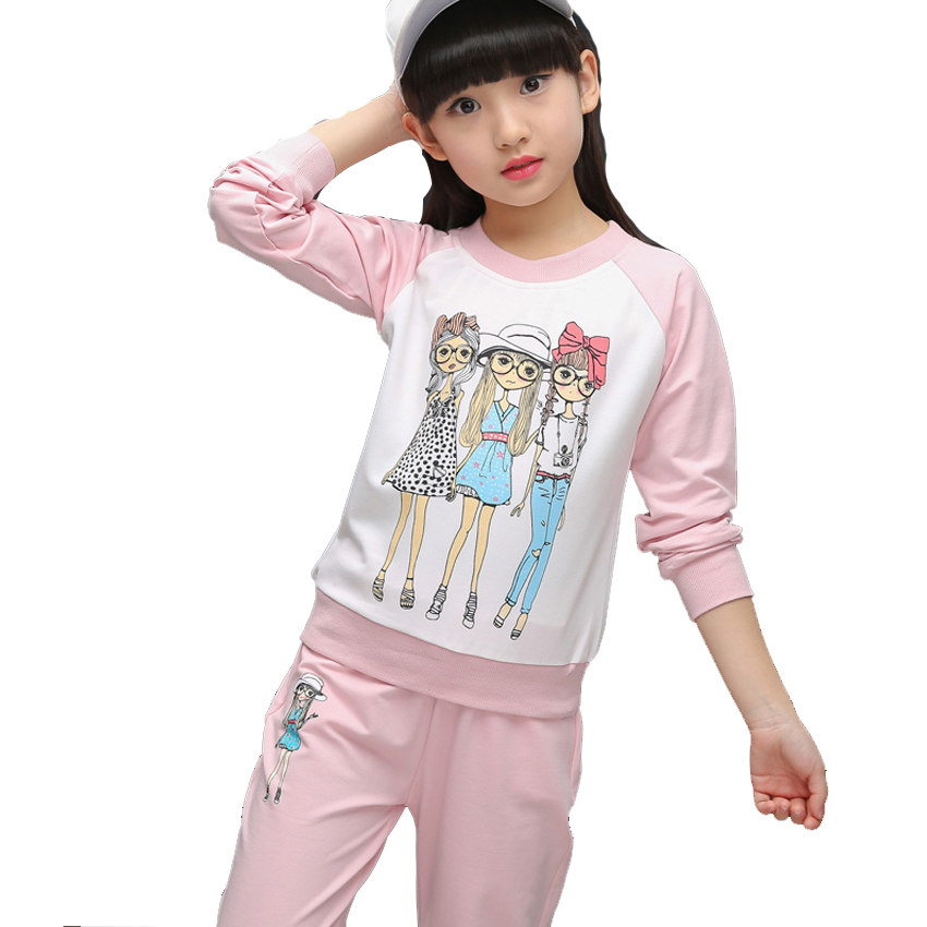 Girls Casual Outfits for Children Cotton Clothing Sets Girls Cartoon T-shirts & Pants Suits 8 10 12 Years Kids Autumn Tracksuits