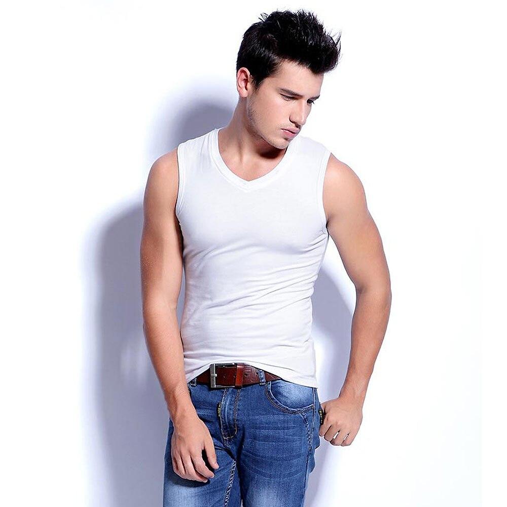 33af3aba9a New 2019 Fashion Summer Mens V neck Sleeveless Wide Shoulder Tank top  Fitness Vest Stretch Cotton Slim Sleeveless Vest Men Tops-in Tank Tops from  Men's ...