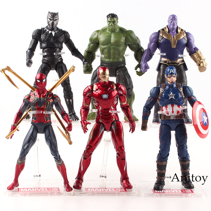 Marvel Avengers Infinity War Thanos Hulk Black Panther Spiderman Iron Man Captain America Action Figure Collectible Model Toy