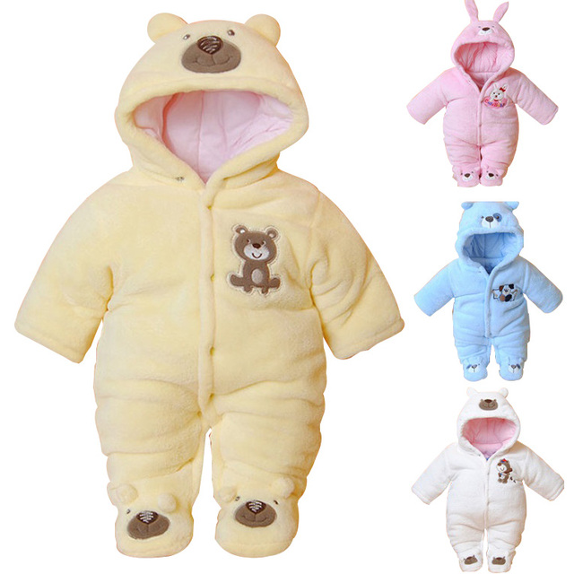 e5594b6e680 Newborn Baby Rompers Cartoon Hooded Winter Baby Clothing Thick Cotton Baby  Girls Outfits Baby Boys Jumpsuit