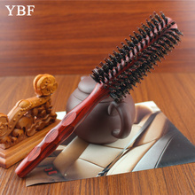 2017 Popular fashion Natural Pig Mane Bristles Wooden Roll Comb Hair Brush hairdresser professional hair styling hairbrushes