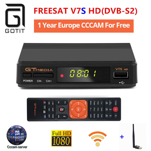 US $32 3 5% OFF|GT Media V7S CCcam+1 Year Europe Spain CCcam 4 Clines  Server+1 USB WIF Device DVB S2 Satellite HD Receiver Newest version of  V7-in