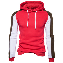 Male Fleece Tops Hoodie New Stylish Men's Slim Warm Hooded Sweatshirt Thick Coat Jacket Outwear Teenagers Stitching