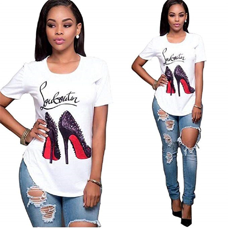 Showtly High-heeled Shoes Female Oversized Women T-shirt  Korean Fashion Clothing Streetwear Vogue T-shirts