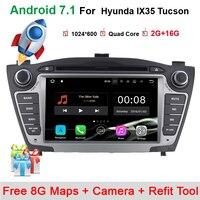 7 Quad Core 1024 600 Pure Android 7 1 2Din Car DVD For Hyunda IX35 Tucson